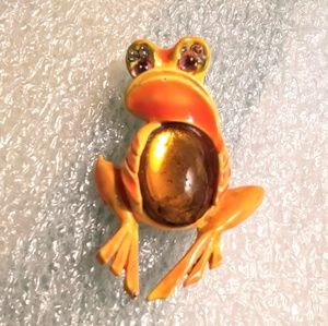 Signed ART frog brooch